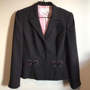 Liz Claiborne Black Blazer w/ pink polka dots+bows